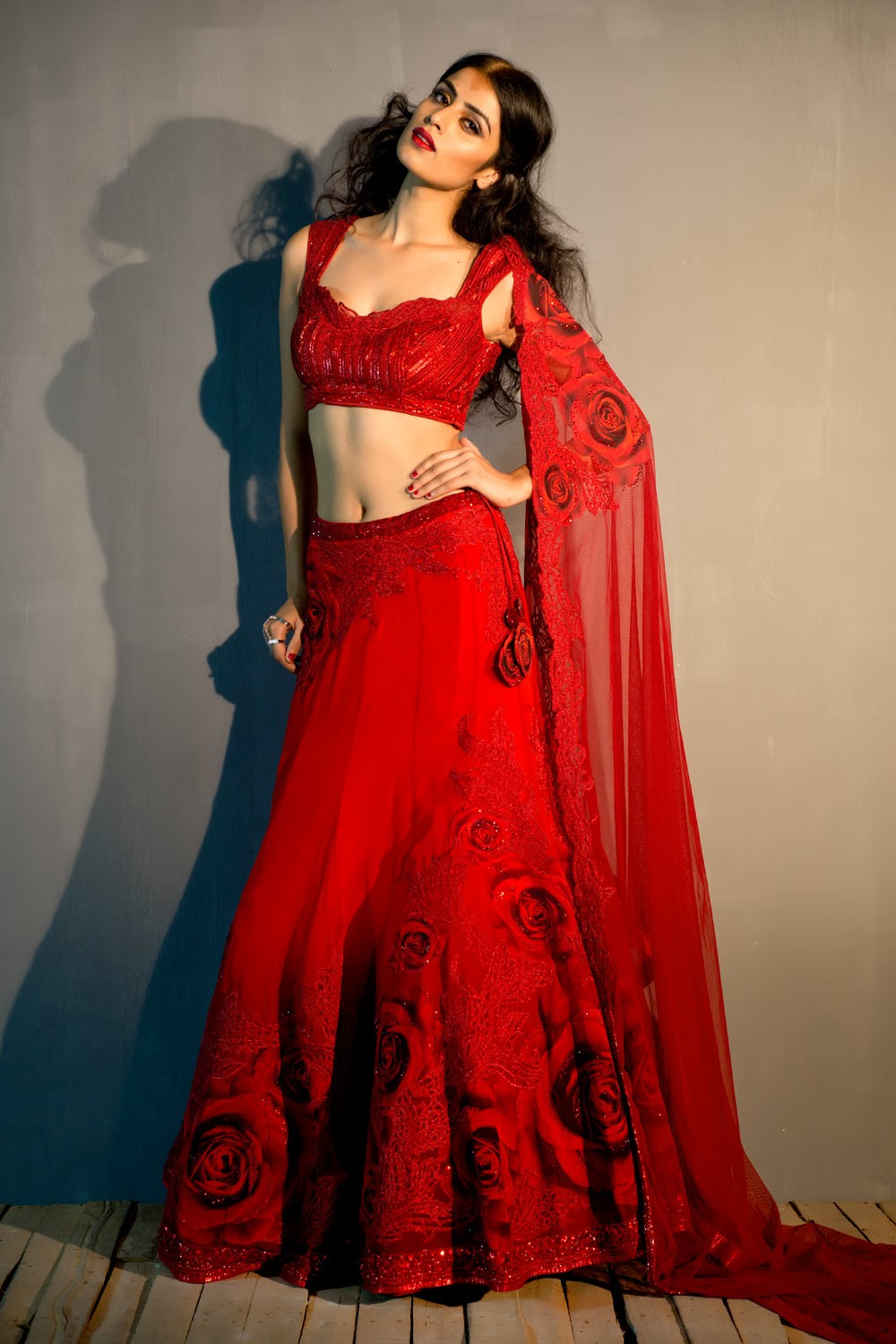 georgette red lehenga online