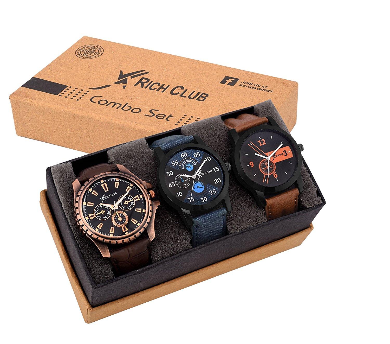 Rich Club Analogue Black Blue Dial Men's Watch