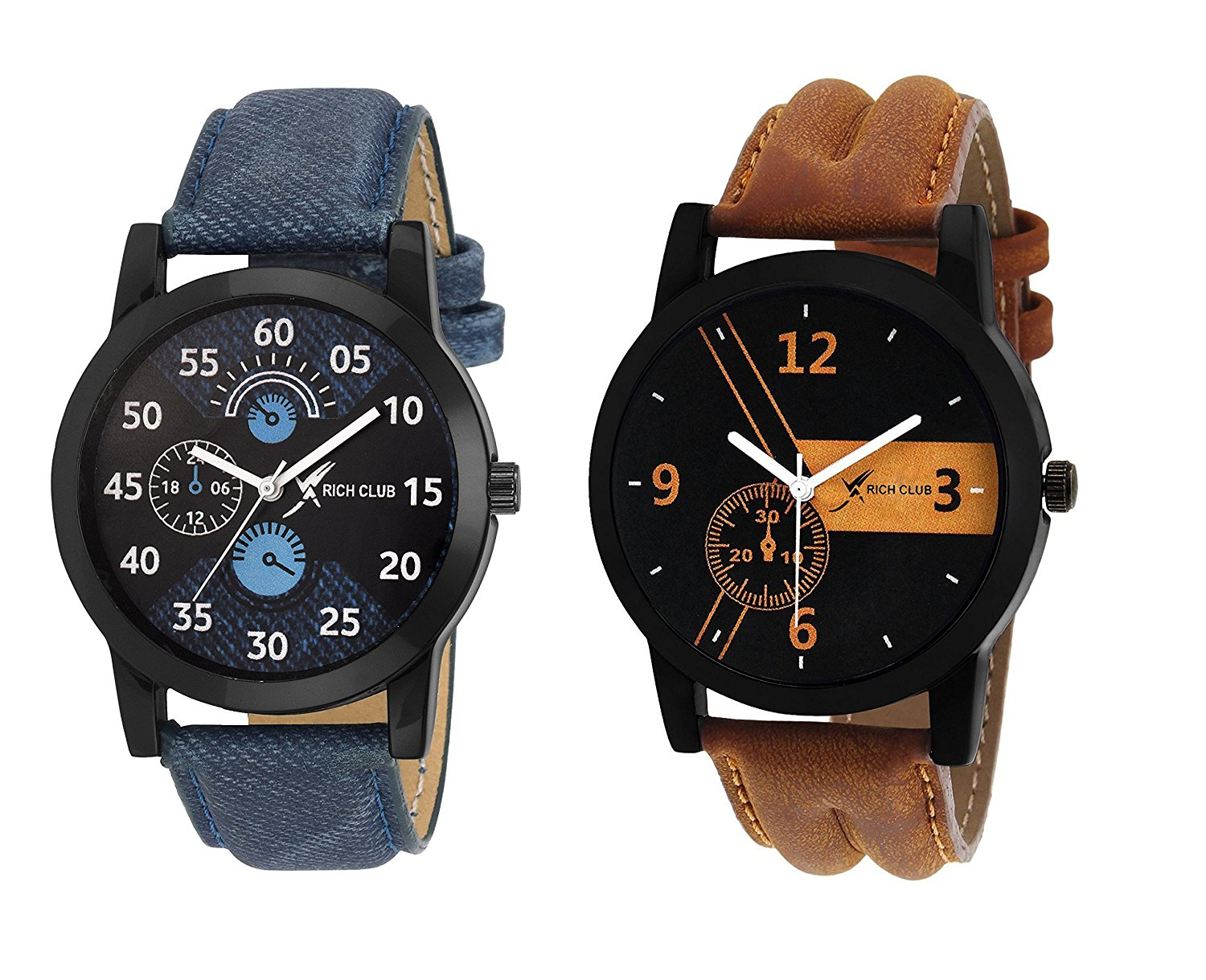 Rich Club Analogue Black Blue Dial Mens